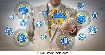 rete, salute, informazioni, direttore, accedere a, dati
