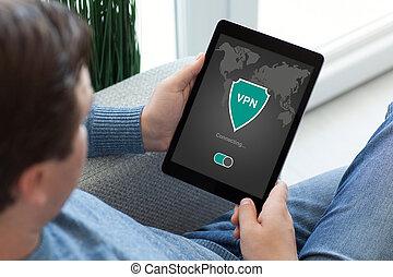 rete, tavoletta, app, creazione, protezione, presa a terra, internet, vpn, protocols, uomo