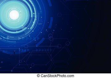 rete, vettore, lines., comunicazione, tecnologia, blu, esagono, fondo, concetto, astratto, luce