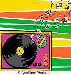 retro, 80s, musica, vinile, giocatore, cartone animato, arte