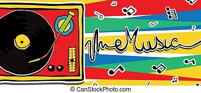 retro, 80s, musica, vinile, giocatore, cartone animato, bandiera