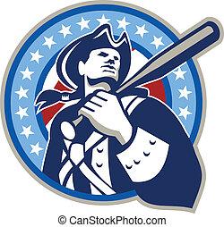 retro, baseball americano, pipistrello, patriota