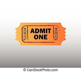 retro, biglietto, cinema