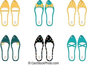 &, retro, blu, (, isolato, collezione, scarpe, giallo, ), bianco