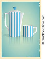 retro, caffè, stile, vaso, tazza