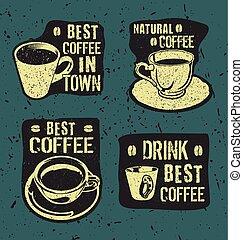retro, caffè, vendemmia, etichette