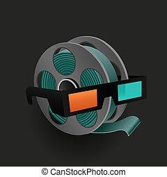 retro, cinema, icona, occhiali, film