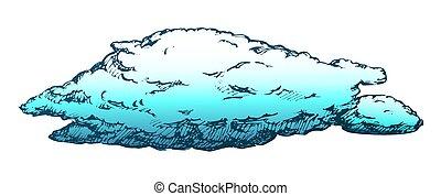 retro, coperto, volare, tempestoso, nuvola, vettore