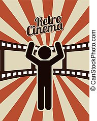 retro, disegno, cinema