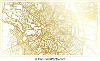 retro, dorato, map., dijon, città, color., francia, mappa, stile, contorno