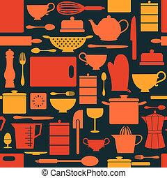 retro, fondo, cucina