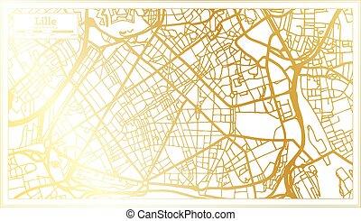 retro, lille, color., mappa, francia, map., stile, contorno, dorato, città
