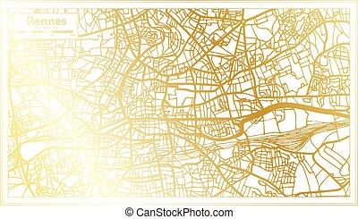 retro, mappa, color., rennes, francia, map., stile, contorno, dorato, città