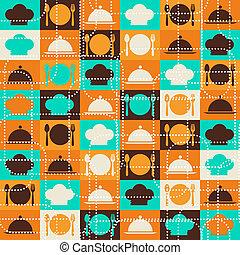 retro, pattern., seamless, cucina