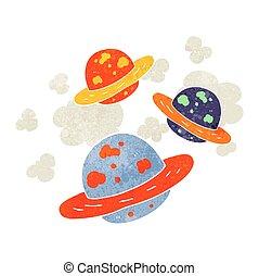 retro, pianeti, cartone animato