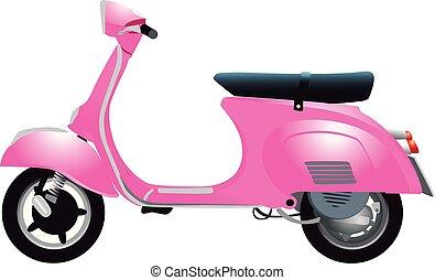 retro, scooter, rosa