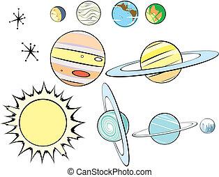 retro, sistema, solare, gruppo