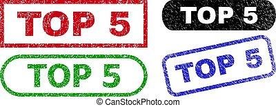 rettangolo, 5, grunge, struttura, francobolli, cima