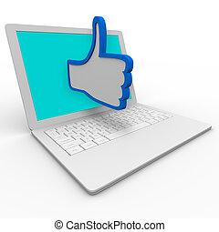 revisione, thumb's, buono, computer, laptop, simbolo, su, internet