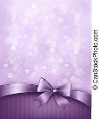 ribbon., arco regalo, elegante, vettore, fondo, vacanza
