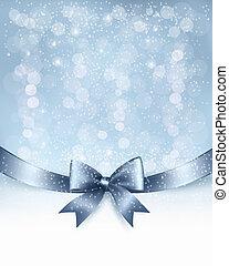 ribbon., arco regalo, vettore, lucido, fondo, vacanza, natale