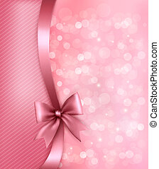 ribbon., carta, vecchio, fondo, vacanza, regalo, vettore, arco, rosa