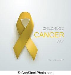 ribbon., consapevolezza, cancro, giallo, infanzia