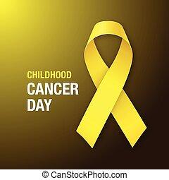 ribbon., consapevolezza, day., cancro, giallo, infanzia