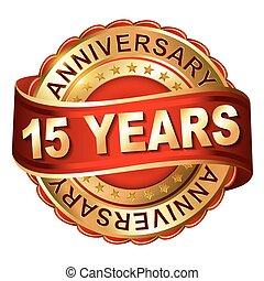 ribbon., dorato, anniversario, 15, etichetta, anni