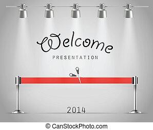 ribbon., luminoso, vettore, sagoma, photorealistic, presentazione, proiettori, rosso, palcoscenico