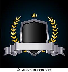 ribbon., scudo, corona, ghirlanda, vettore, alloro, argento, illustration.