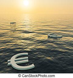ricchezza, euros, soldi, esposizione, tramonto, guadagni, galleggiante, o