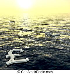 ricchezza, libbre, soldi, esposizione, tramonto, guadagni, galleggiante, o