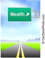 ricchezza, segno strada principale