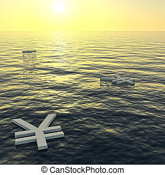 ricchezza, yen, soldi, esposizione, tramonto, guadagni, galleggiante, o