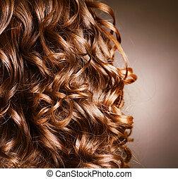 riccio, .natural, onda, capelli, hair., hairdressing.