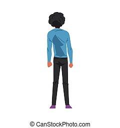 riccio, stile, cartone animato, qualcosa, giovane, dietro, osservato, brunetta, casuale, il portare, dall'aspetto, uomo, tipo, vista, vettore, indietro, illustrazione, vestiti