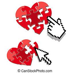 ricerca, amore, simbolo, datare internet, o