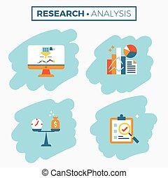 ricerca, analisi, illustrazione, icona