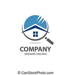ricerca casa, vettore, logotipo