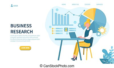 ricerca, concetto, donna, laptop, affari