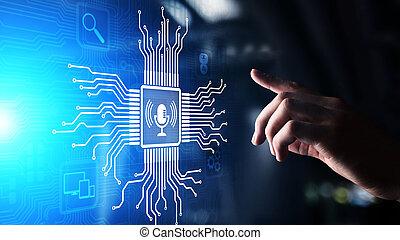 ricerca, controllo, voce, screen., simbolo, virtuale, microfono, riconoscimento