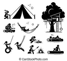 ricerca, esterno, ricreativo, icons., donna, figura bastone