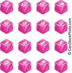 ricerca fotoricettore, cubo, serie, set, icona