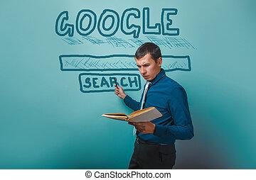ricerca, google, libro, presa a terra, infographics, mostra, puntatore, uomo