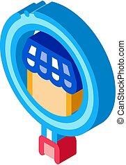 ricerca, icona, affari, vettore, illustrazione, isometrico, negozio