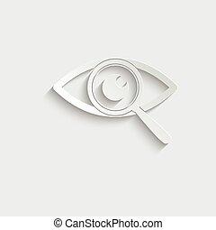 ricerca, -, icona, vettore, segno, occhio, segno., carta, nero
