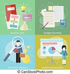 ricerca, investitori, affari, budget, pianificazione, piano