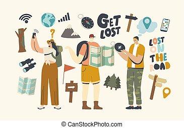 ricerca, mappa, perso, navigation., caratteri, ottenere, persone, bussola, forest., satellite, avventura esterna, direzione, usando