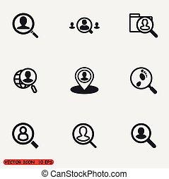 ricerca, persone, icone